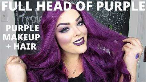 the violet hair makeover full face of purple purple hair monochromatic makeup
