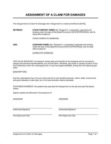 assignment of a claim for damages template sle form