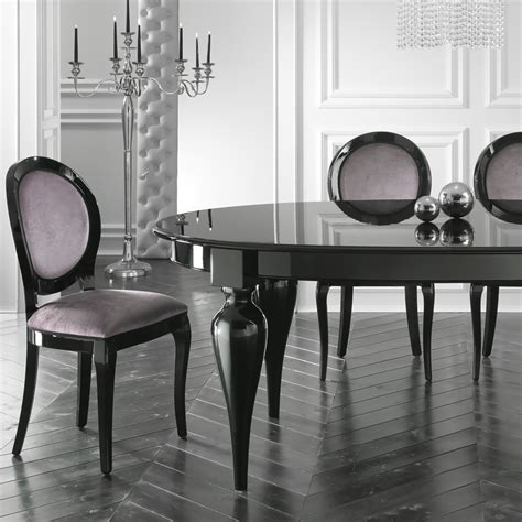 Black Table Restaurant by Italian Designer Oval Extendable Black Lacquered Dining