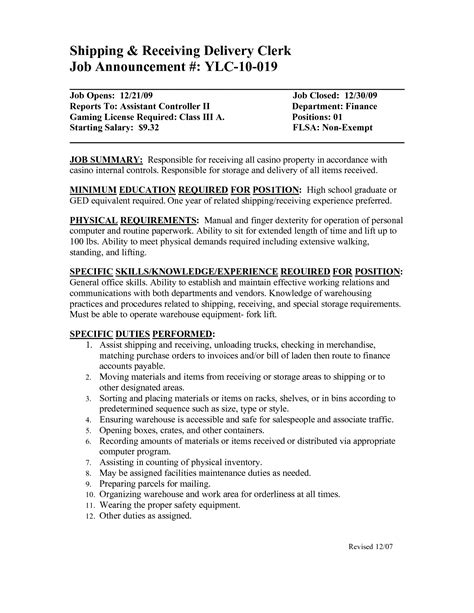 Shipping And Receiving Description For Resume by Shipping And Receiving Resume Skills Resume Ideas