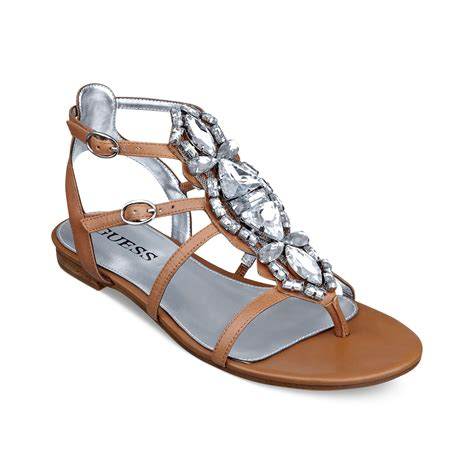 jeweled sandals guess viorella jeweled sandals in brown lyst