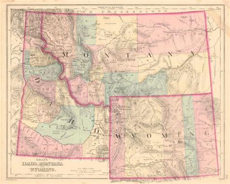 idaho montana map map antique gray s idaho montana and wyoming o w gray