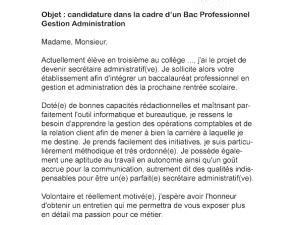 Lettre De Motivation Stage Gestion Administration lettre de motivation bac pro gestion administration par
