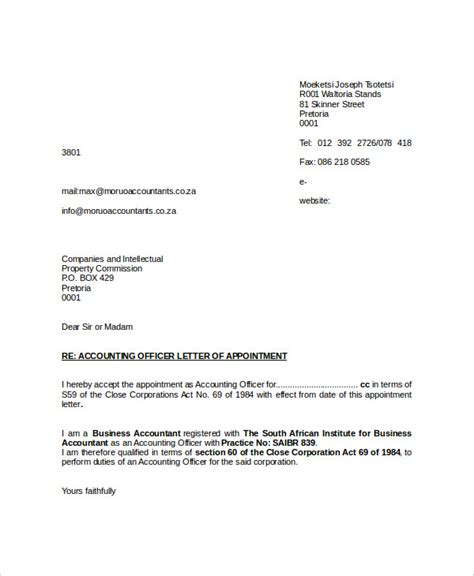 appointment letter format for junior accountant 44 appointment letter template exles free premium