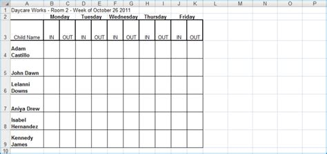 weekly center in out excel