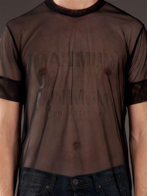 Tshirt 06 Alba Match Item lyst blaak printed mesh t shirt in black for