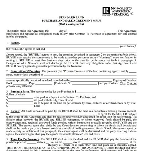 Free Contract Templates Word Pdf Agreements Land Purchase Agreement Template