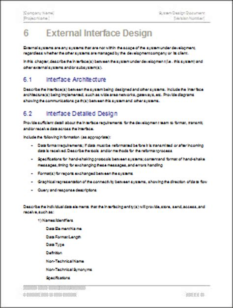 software documentation template system design document template