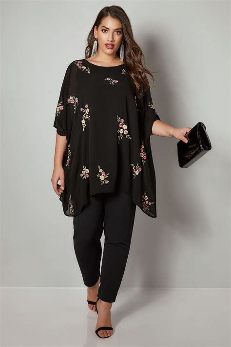 yours london black floral embroidered chiffon cape top plus size 16 to 32