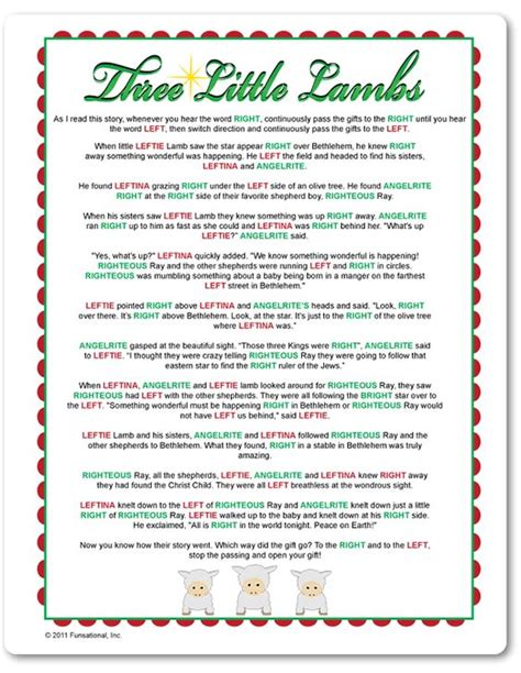 right left christmas party story printable right left three lambs stuff to try