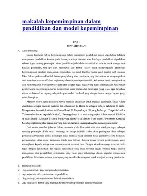Kepemimpinan Pendidikan Kejuruan Istana 2 makalah kepemimpinan dalam pendidikan dan model kepemimpinan