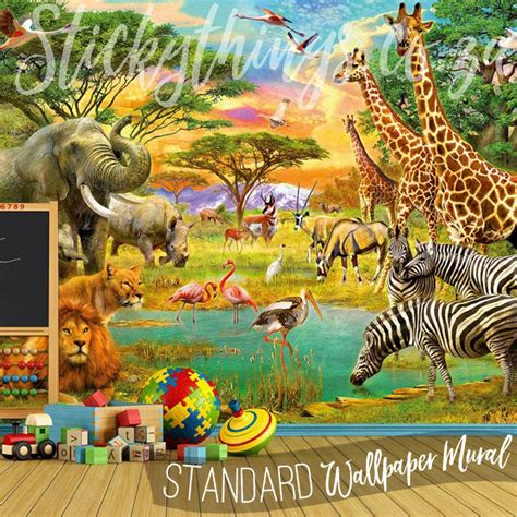 Safari Map Mural Wallpaper Muralswallpaper - safari animals wall mural animals wallpaper