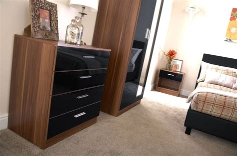 Walnut And Black Gloss Bedroom Furniture Bedroom Furniture 3 Set Black Gloss Walnut Wardrobe Bedside Drawer Chest Ebay