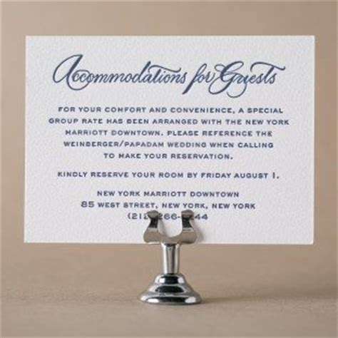 Wedding Invitations Hotel Accommodation Cards Template by Letterpress Direction And Accommodation Cards From