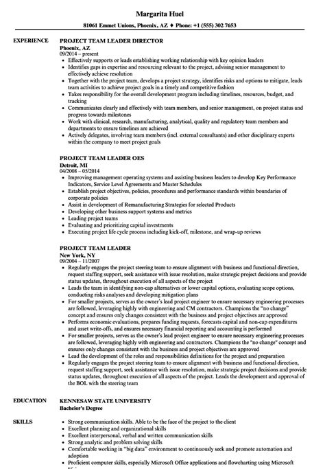 Project Team Leader Sle Resume by Project Team Leader Resume Sles Velvet