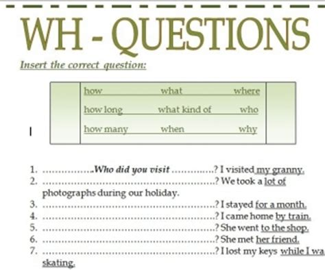 pattern of wh questions wh questions