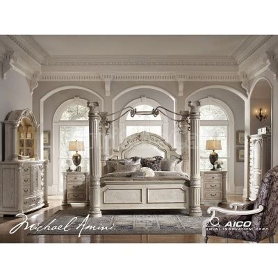ashley furniture canopy bedroom sets monte carlo ii canopy poster bedroom set silver pearl