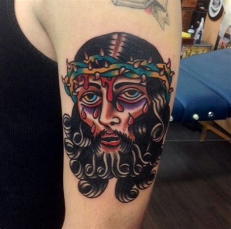 christian tattoo artist ontario a very stylized jesus tattoos that endure pinterest