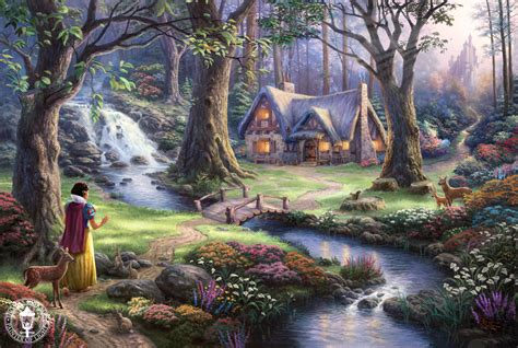Snow White Discovers The Cottage kinkade quot disney dreams quot disney princess photo