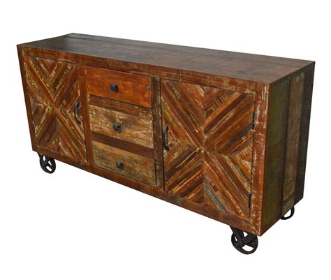 industrial buffet table rustic wood industrial sideboard buffet table storage cabinet on iron wheels desiclik usa