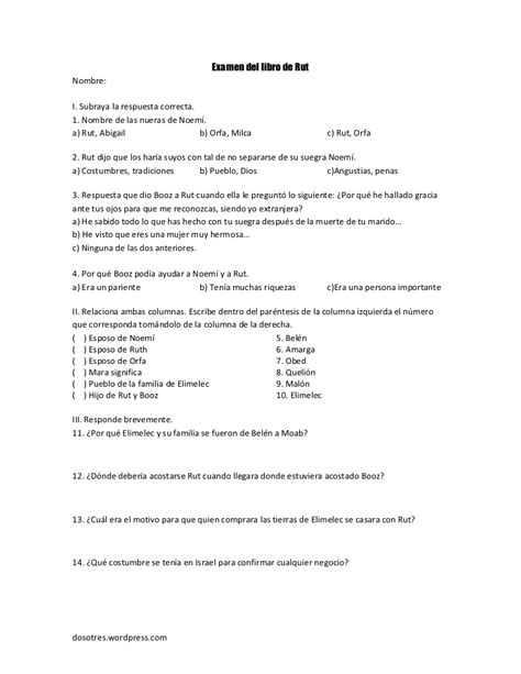 preguntas biblicas con opcion multiple examen del libro de rut