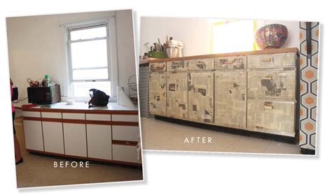 Decoupage Kitchen Cabinets - newsprint cabinets