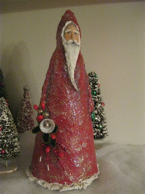 one of a kind sparkly paper mache santa christmas crafts