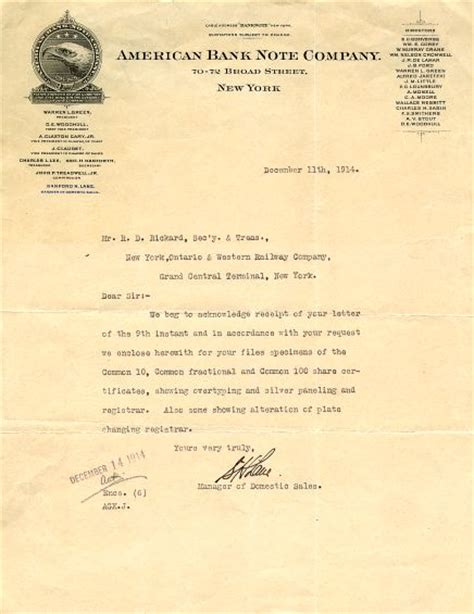 Bank Letter York American Bank Note Company Letter New York 1914