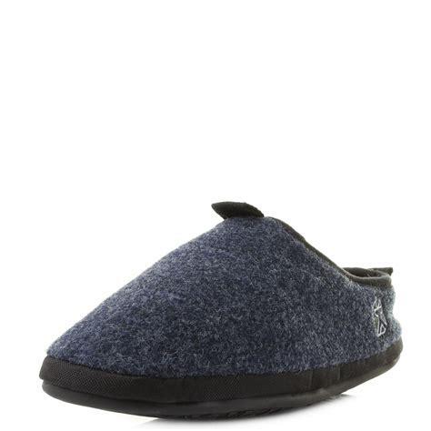 bedroom slippers men mens bedroom athletics travolta navy fleece lined mule