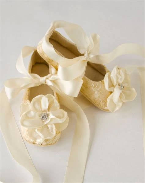 toddler flower shoes ivory gold toddler ballet slippers flower shoes in gold