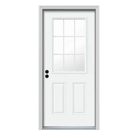 9 Lite Exterior Door Jeld Wen 31 438 In X 81 75 In 9 Lite White Painted Steel Prehung Right Inswing Front Door