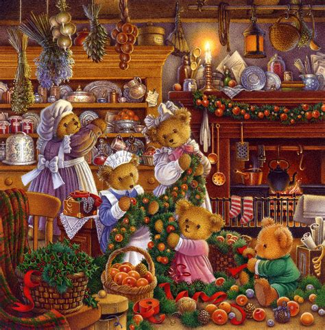 getting ready for christmas painting by carol lawson