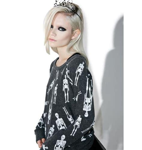 Sk Sweater Garis White chaser skellington sweater dolls kill