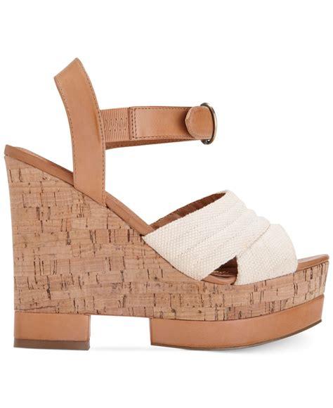 dolce vita dv by jersey platform wedge sandals in brown lyst