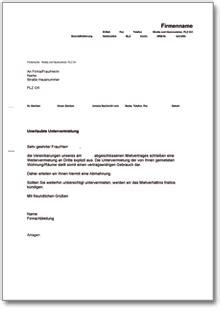 Musterbriefe Wohnungsbewerbung abmahnung wegen unerlaubter untervermietung ch musterbrief