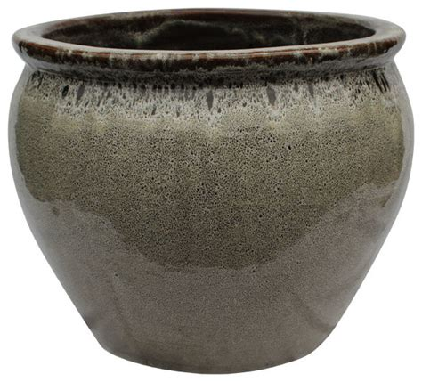 Outdoor Pottery Pots 20 Quot Ceramic Fishbowl Planter In Bird Egg Brown