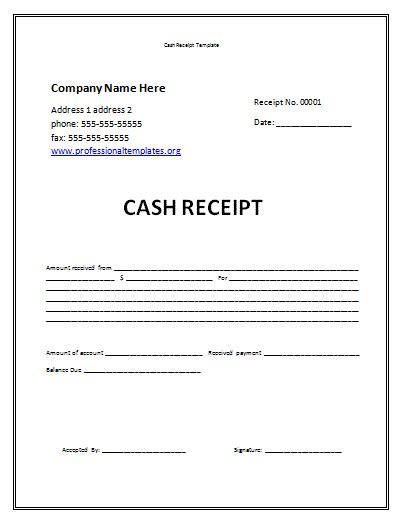 Acknowledgement Receipt Template Word by Receipt Template Free Receipt Template