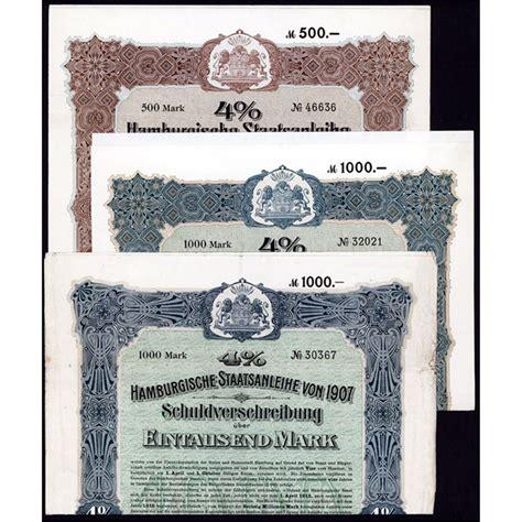 Bond Hamburg by Hamburgische Staatsanleihe 1907 Bond Pair Archives