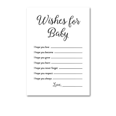 wishes for baby printable template baby shower simple black and white activity