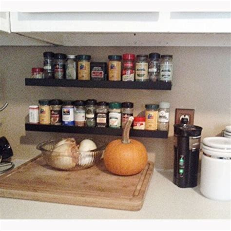 Floating Spice Rack Wall Mount Spice Rack Floating Shelf Wood Black 22 Inch