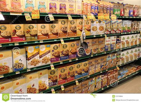Grocery Store Shelf by Cereal On Shelves In Grocery Store Editorial Stock Image