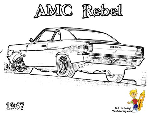 coloring pages of muscle cars 1967 amc rebel car coloring at yescoloring