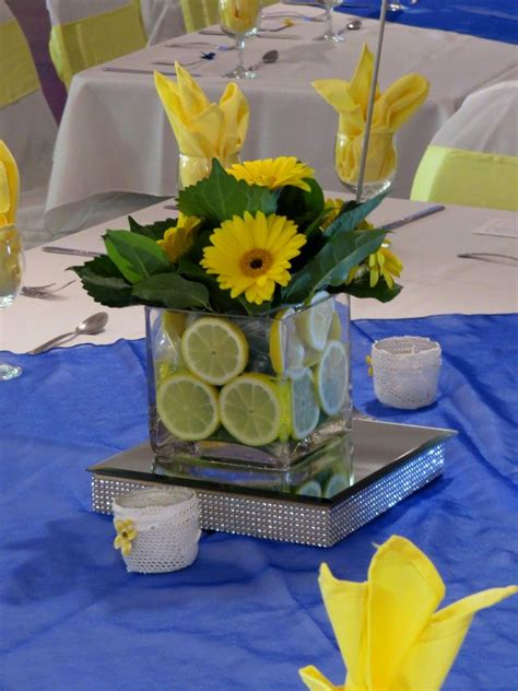 cool design yellow and royal blue wedding decoration ideas