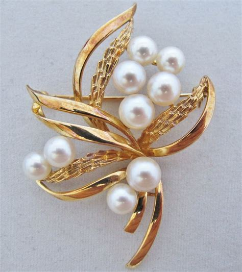 2 4 quot vintage 14k yellow gold white pearl pearls brooch