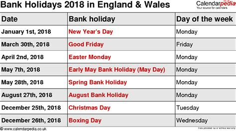 Calendar 2018 With School Holidays Uk Bank Holidays 2018 In The Uk
