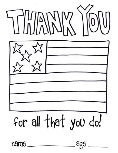 thank you card template for officers children thank you color page soldiers and as a thank