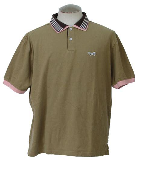 Polo Shirt Fox Logo 1990 s shirt fox 90s fox mens pink brown and white cotton sleeve polo shirt
