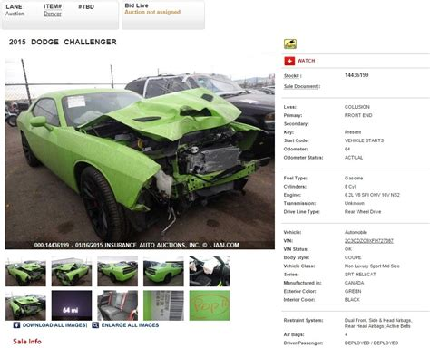 crashed dodge challenger for sale crashed 2015 dodge challenger srt hellcat heading to iaai