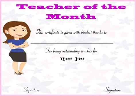 teacher of the month certificate template 1 best and various