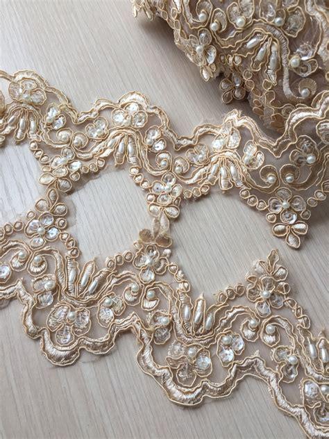 chagne alencon lace trim pearl beaded sequined lace wedding